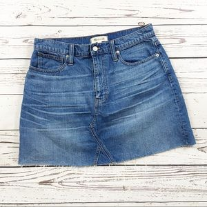 Madewell denim cutoff mini skirt size 30